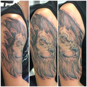 Tätowierung, realistictattoo, Löwe, Lion, Tattoo, Haut und Tinte, Oberarmtattoo, black&white tattoo, Wolfsburg
